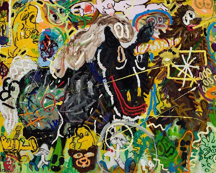 Étienne Chartrand «Exo-langage» (2015) technique mixte sur toile (121cm x 152cm)