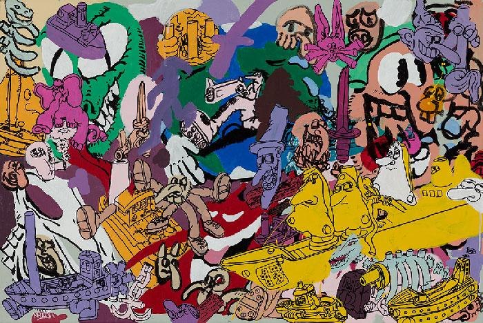 Étienne Chartrand «Cartoon Cancer» (2013) technique mixte sur toile (61cm x 91cm)