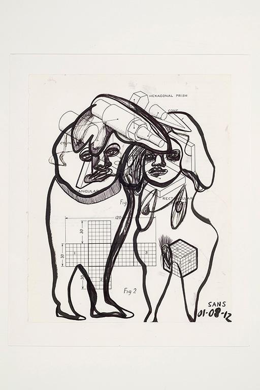 Jim Sanders «Figure 2» (2012) encre sur papier (25cm x 19.5cm)