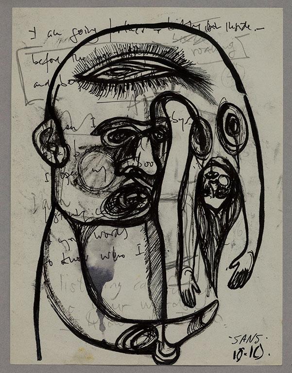 Jim Sanders 'Sans titre' technique mixte sur papier  (19.5cm x 14.5cm)