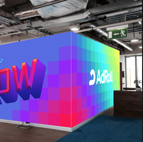 A pop of color for Dublin.  - This mural was designed for AdRoll's Dublin's office. I utilized our bright, vibrant new palette + slogan, and the