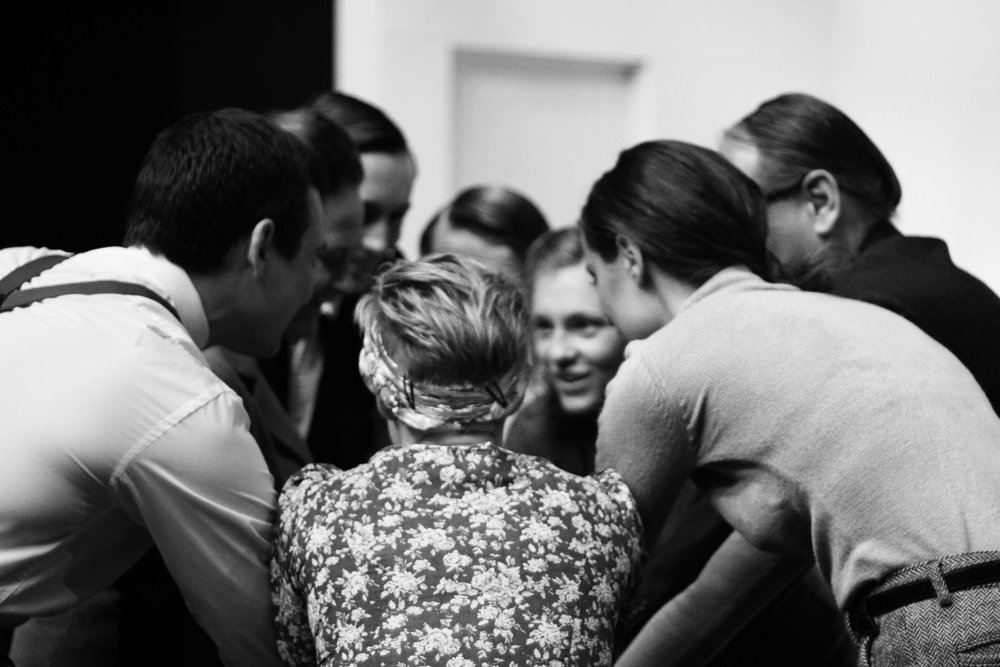 18. Cast & Director pre-show huddle - Plaza Suite - Visitor from Mamaroneck.jpg