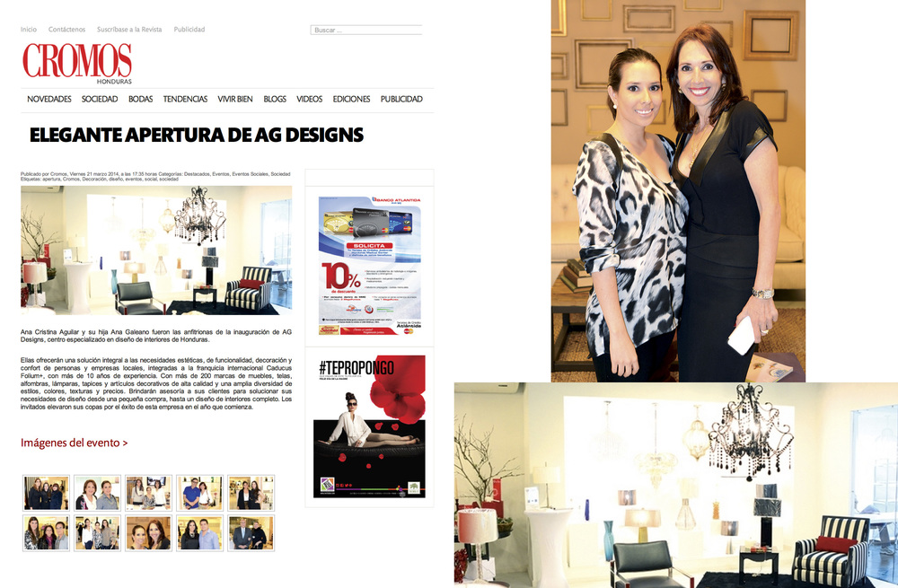 AG Designs featured in Cromos Honduras