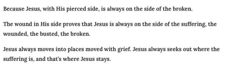 from http://annvoskamp.com/2018/03/how-jesus-died-why-its-everything-to-every-broken-heart/