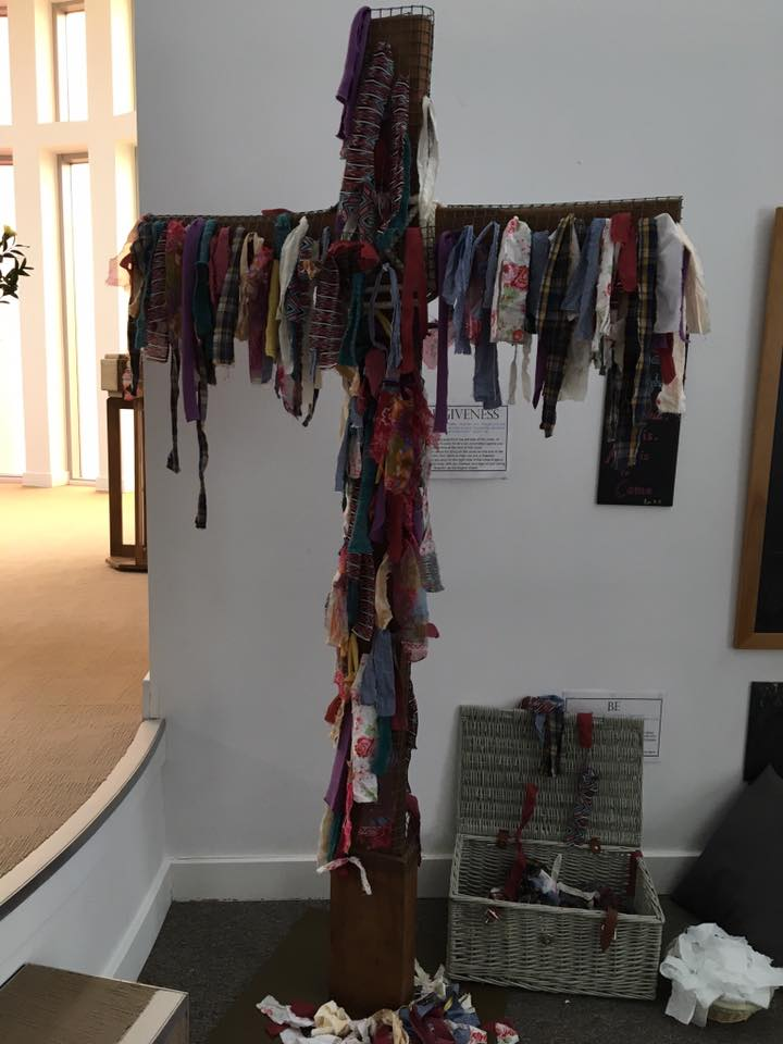 For Easter, one English Church had all congregants put an old rag on a cross and take away a new rag