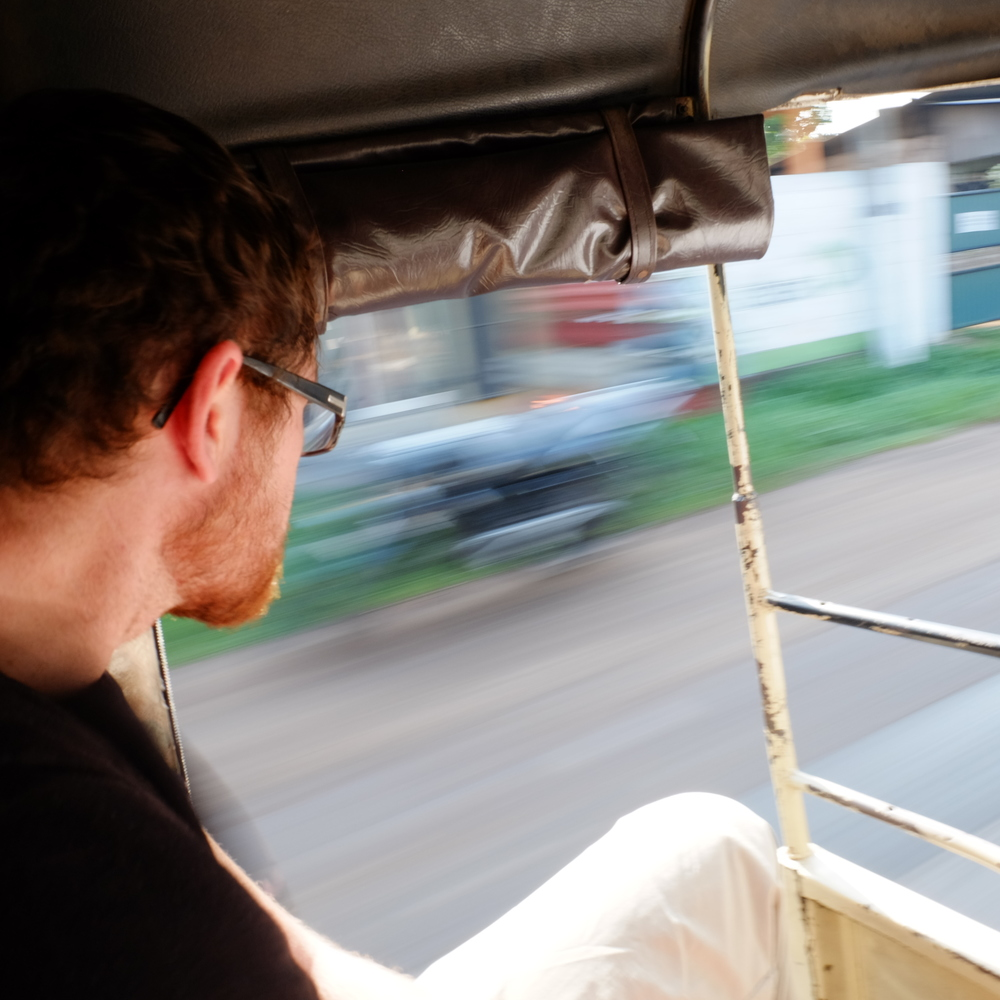 James in tuk tuk