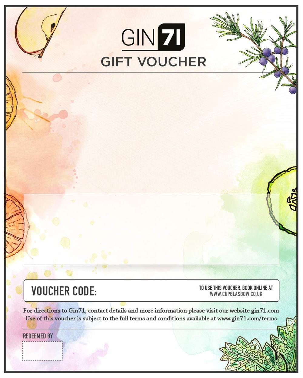 Gifts Gin71 Gift Voucher Vouchers
