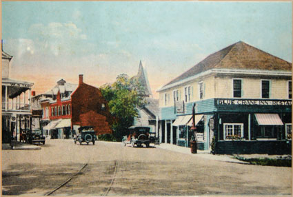 The Blue Crane Inn at the corner of Main Street and North Front Street in New Paltz, as it would have appeared in 1928. Courtesy of P&G's.