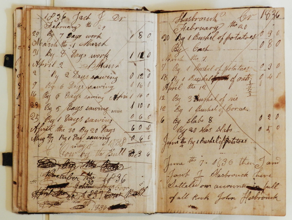 John Hasbrouck's Account Book, HHS Archives