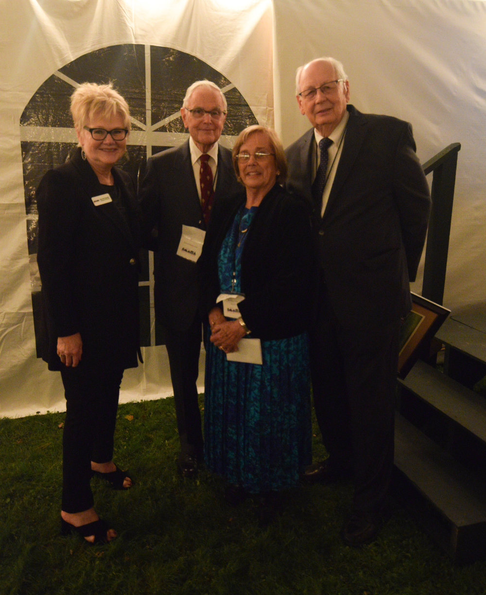 Historic Huguenot Street Board Chair Mary Etta Schneider, 2016 Honoree Robert Hasbrouck, and 2017 Honorees Susanna and David Lent at the Fall Harvest Celebration, Historic Huguenot Street, New Paltz, NY. Photo by Kevin Venkatesh, 2017.