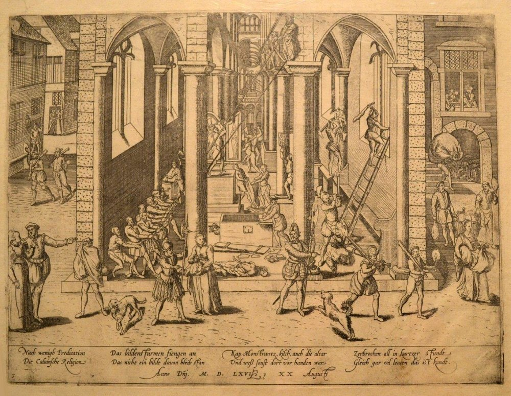 """The Iconoclastic Riot of August 20, 1566."" Copper engraving by Frans Hogenberg (before 1540-1590)"