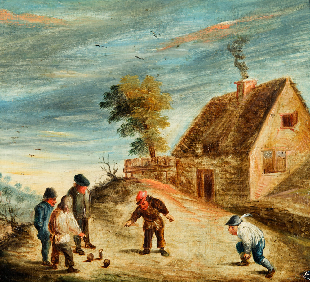 Children Playing Skittles  (ca. 1700). Oil on oak panel. Collection of George Way. Photo by On Location Studios, Poughkeepsie, NY, 2017. Courtesy Historic Huguenot Street.