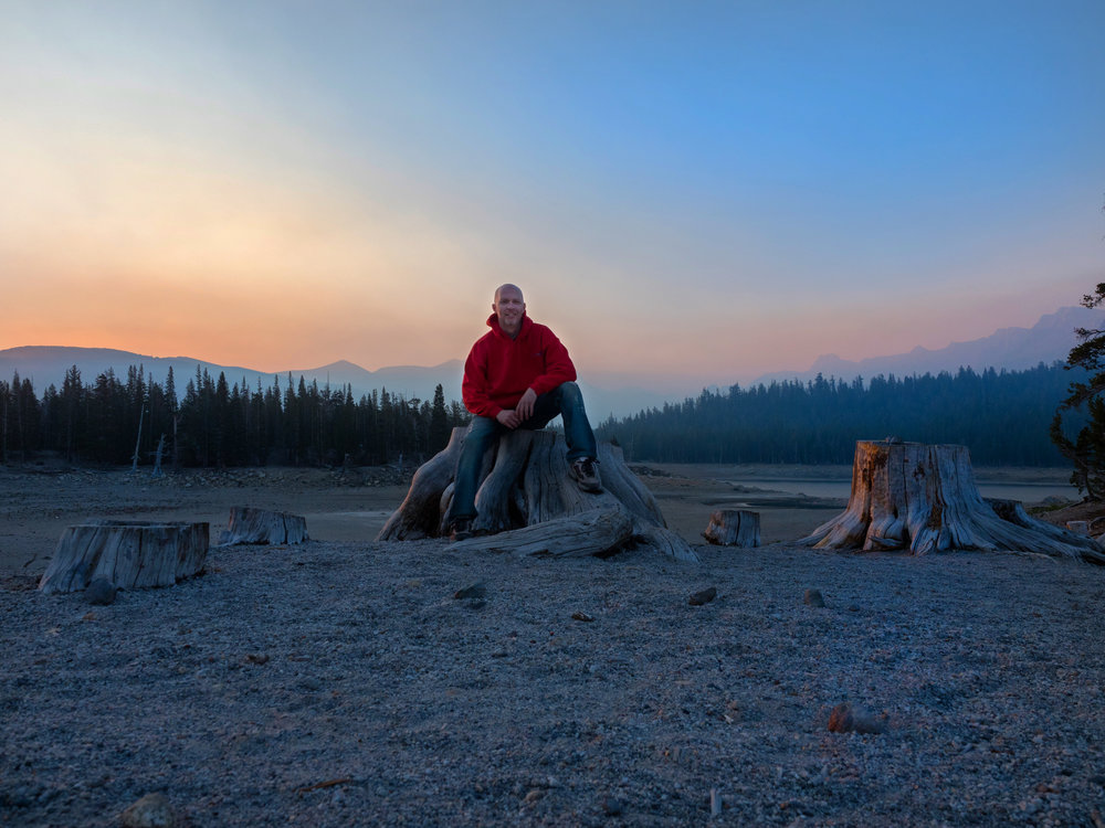 Me at Horseshoe Lake the following morning right before sunrise! The only one around for miles. The entire mountain was mine for about 30 minutes and it was awesome!