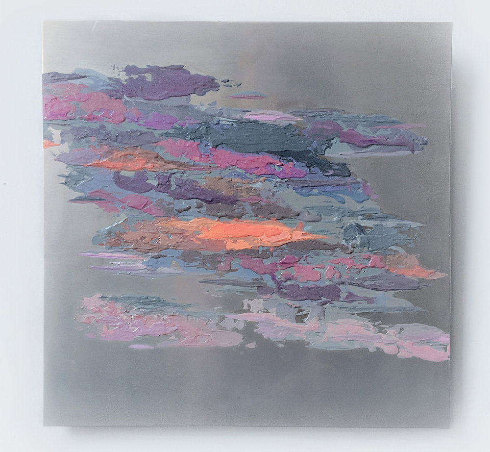 Fluidity #23 , acrylic on metal, 12 x 12 inches