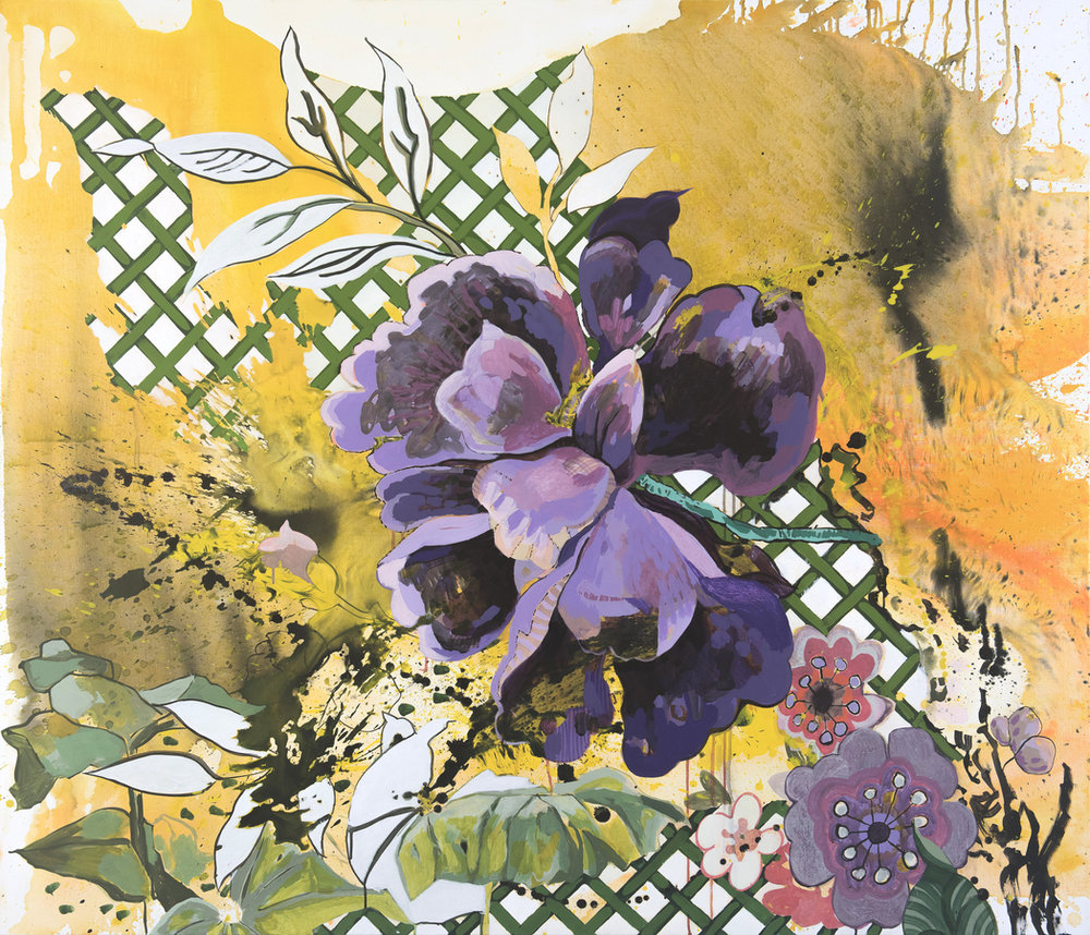 Elisabeth Condon,  In the Garden - Summer , 2017, acrylic and ink on linen, 54 x 72 inches