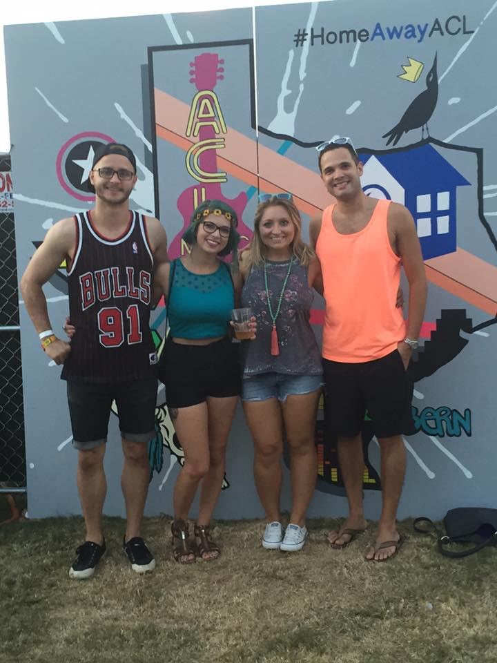 We scored VIP wristbands to ACL from friends at HomeAway. This is Chris, myself, my cousin Kelsey and her boyfriend Pat in the HomeAway lounge area. Loved every minute of this!