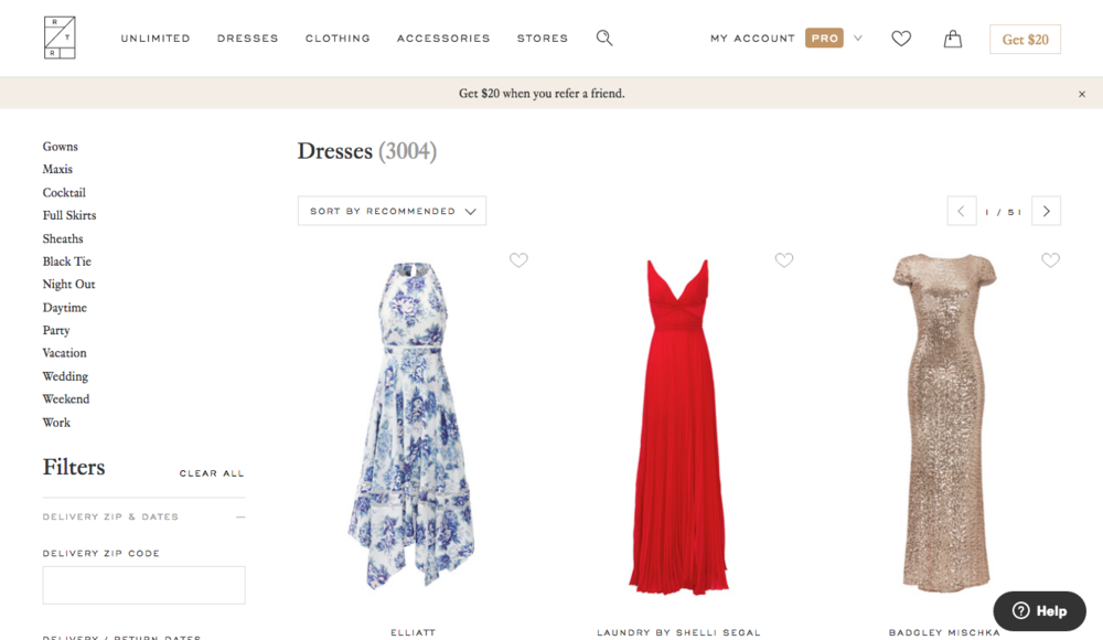 When you go to the RTR website, you can filter the search results to the occasion, your body type, and the color you're hoping to find. In my case, I literally looked through as many dresses as I could until I found 'the one'!