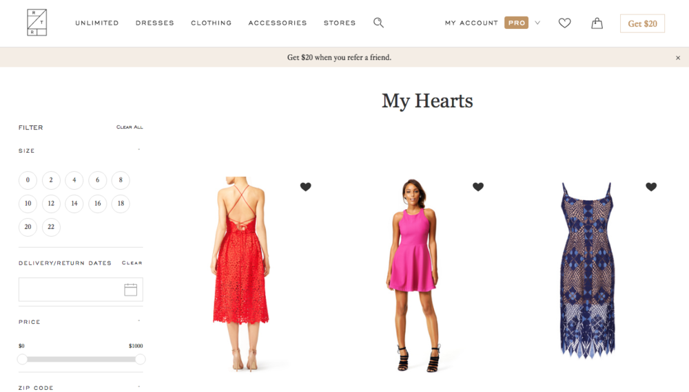 """When you create an account or login through Facebook, you can """"heart"""" dresses that you want to save for later. I put hearts next to several dresses that I liked and when I finished the initial search, I went back to my hearts to narrow down my top 2 choices."""