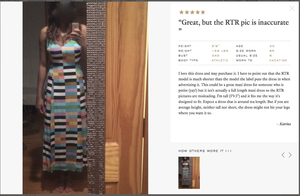 Here's a close-up of a review posted about the dress I chose.