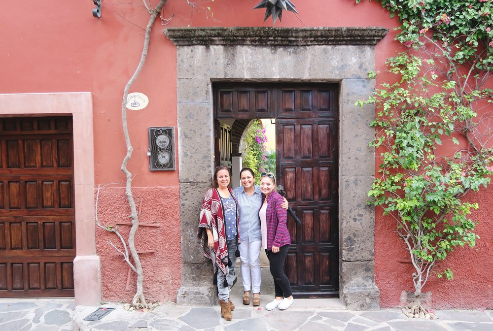 Our arrival to Casa de Rosalinda. Pictured from L to R: Carrie, Judy, myself