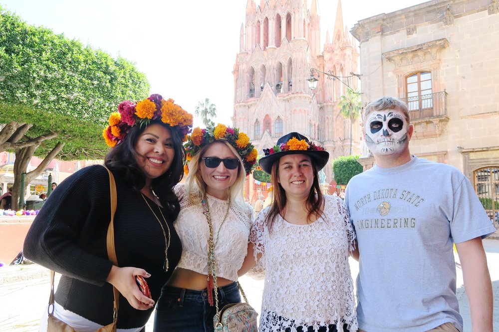 Dia de los Muertos preparations. Flower crowns in full force.