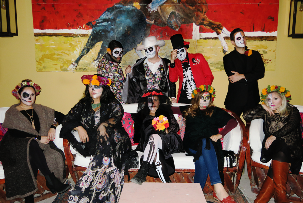 The whole group before heading out for Dia de Los Muertos festivities