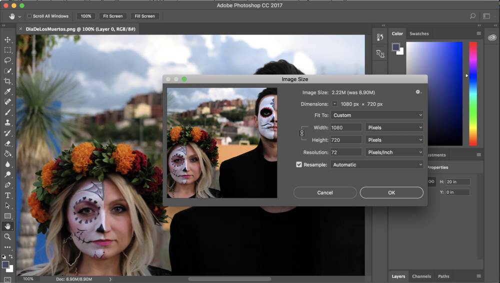 Resizing a photo in Photoshop is pretty simple