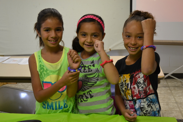 A few of the campers and their water cycle bracelets.