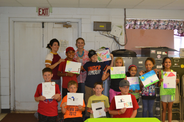 Campers with their water conservation paintings.