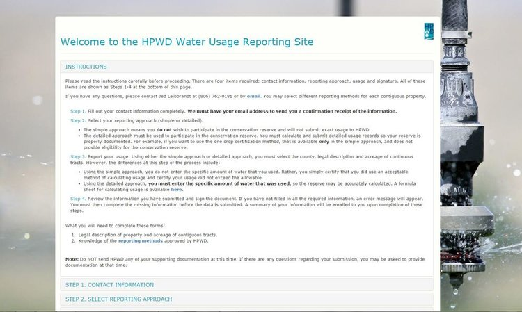 Web Tool Helps With Voluntary Water Use Reporting High Plains