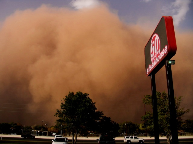 Wall of dust rolls over Lubbock, October, 2011; Source: Ben B. Boothe, Sr.