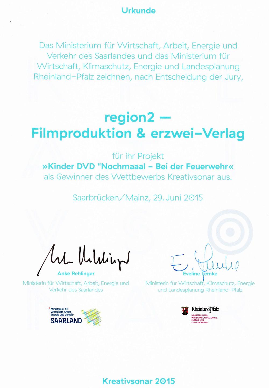 Urkunde Kreativsonar 2015