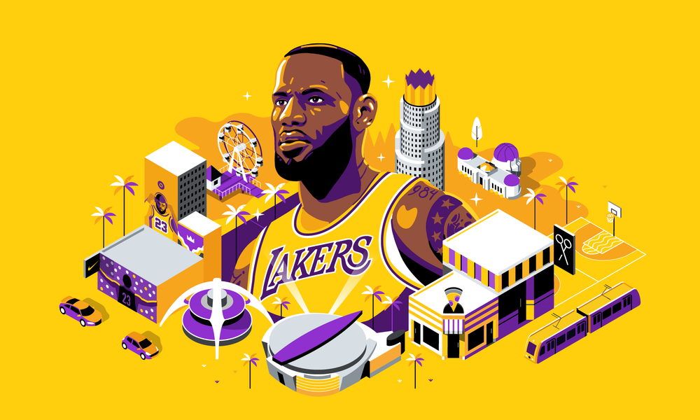 Portrait of Lebron James that we illustrated for ESPN's banner link to the map
