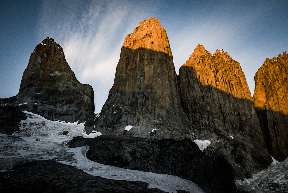 Torres del Paine at sunrise. Photo: Franz Walter