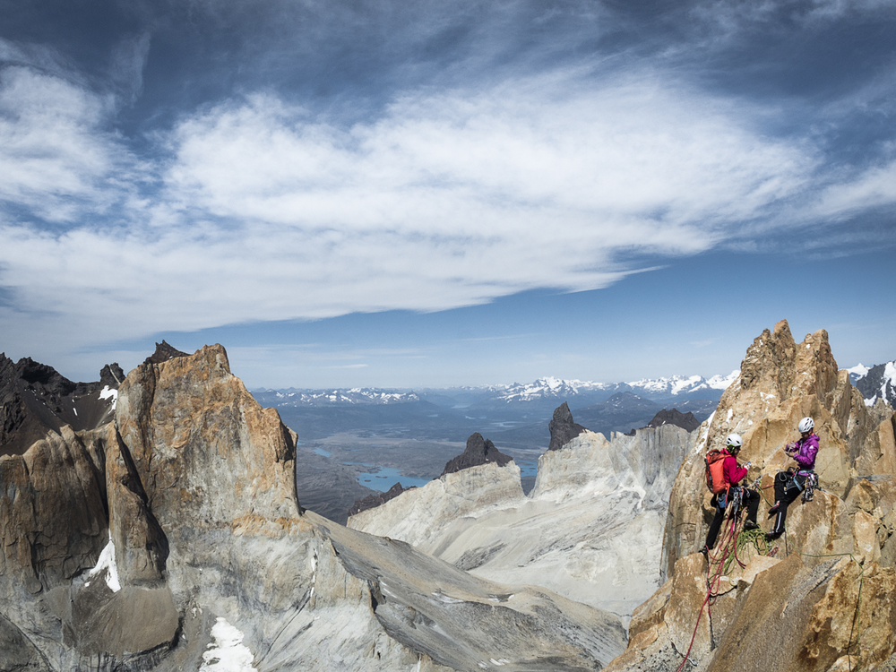 Ines Papert and I nearing the summit of Riders on the Storm. We completed the 5th ascent exactly 25 years after the first ascent! Photo: Thomas Senf