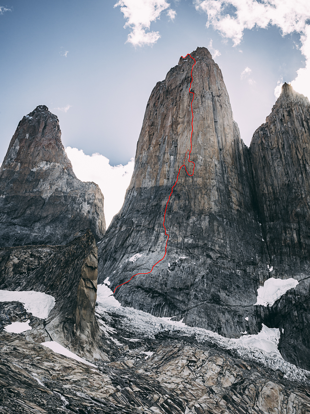 The topo, including our new free variation.  Photo: Franz Walter