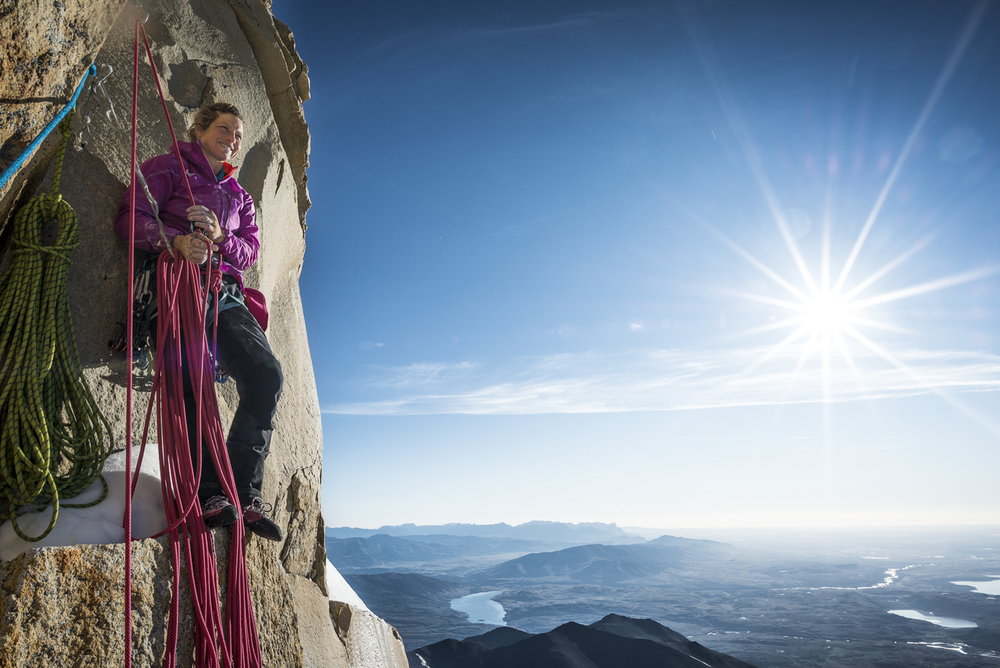 Psyched after making the first free ascent of pitch 32 - the last crux pitch. Photo: Thomas Senf