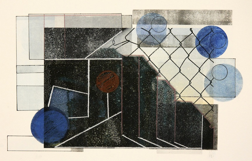 """Chain Link""-2016, Relief Printmaking, Pencil and Image Transfer on Paper, 12""x15"""