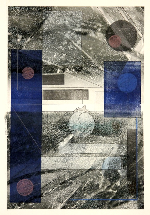 """Shattered Horizon""-2016, Relief Printmaking, Pencil and Image Transfer on Paper, 19""x13"""
