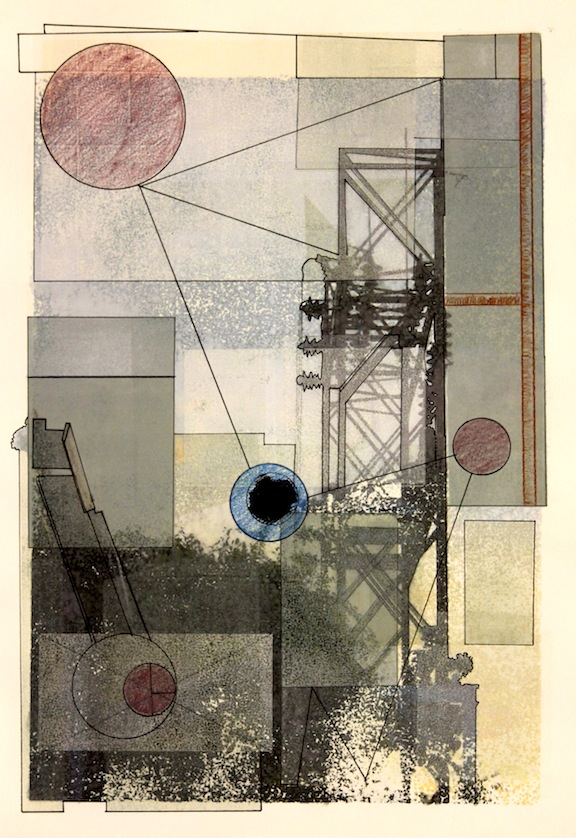 """Power Play""-2016, Relief Printmaking, Pencil and Image Transfer on Paper, 19""x13"""
