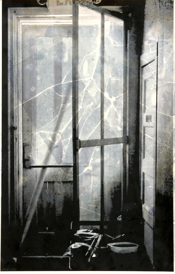 """Apocalyptic Afternoon""-2016, Relief Printmaking, Glass and Inkjet Transparency on Paper, 19""x13"""