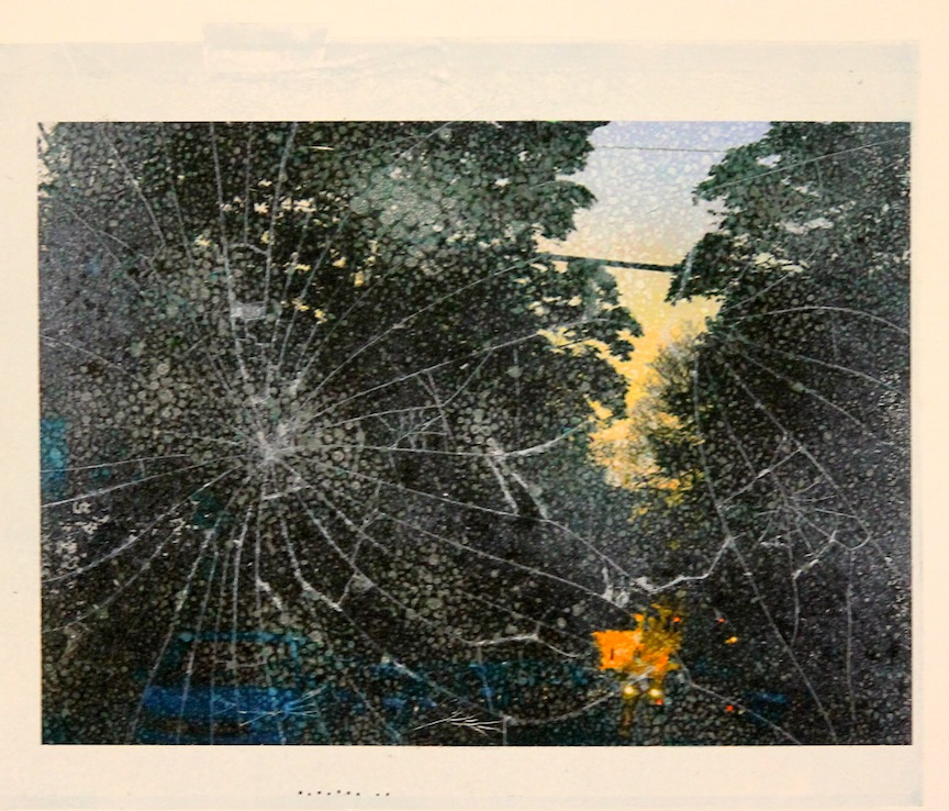 """Collision""-2016, Relief Printmaking, Glass and Image Transfer on Paper, 8""x10"""