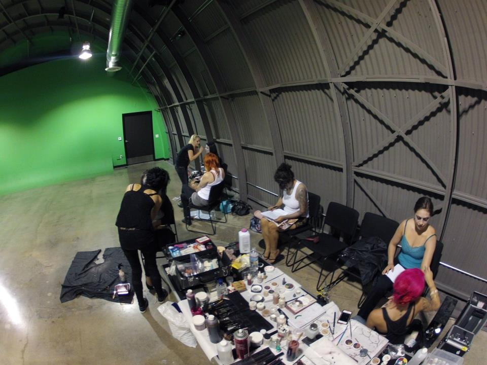 the makeup fx crew's production line on shoot day 2