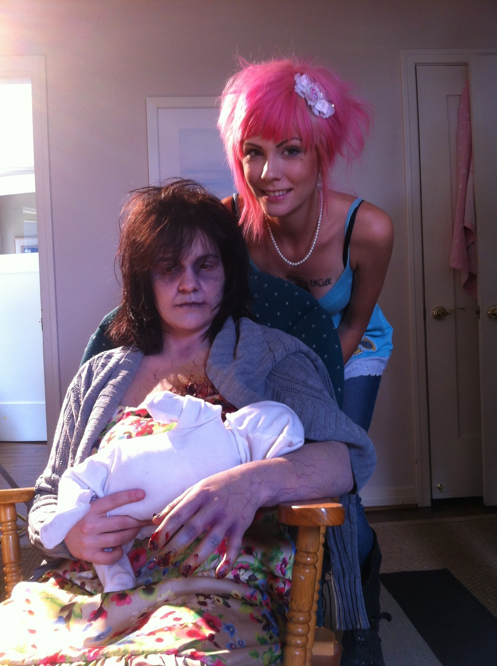 Sara Spink and Laney Chantal with Baby Mikey