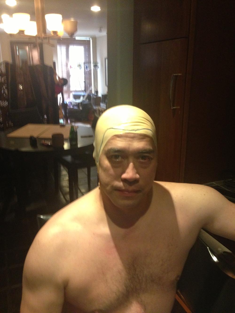 Feature Zombie and Stunt Choreographer Richard Dorton preparing for a head mold