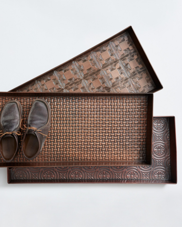 Antiqued Copper Boot Tray from Garnet Hill