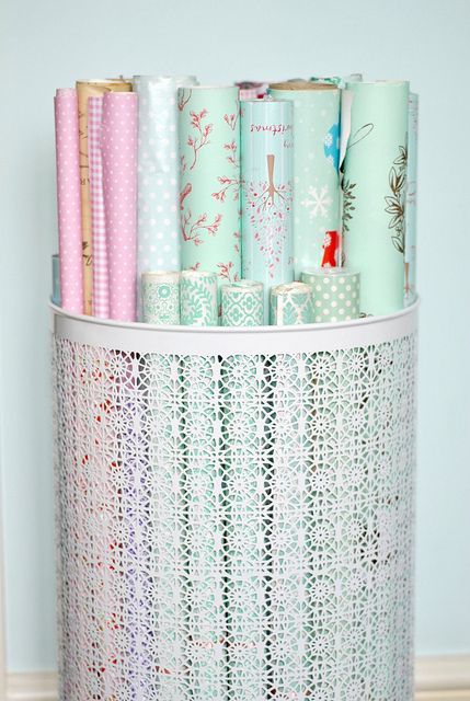Try a decorative laundry basket or trash can (Image via Smart School House)