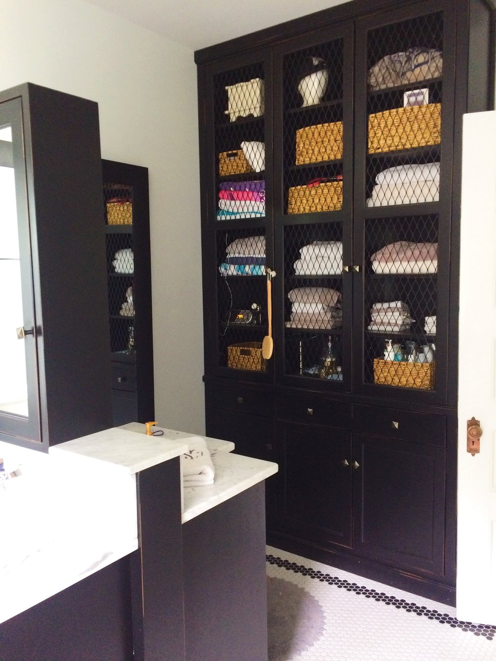 These beautiful built in's covered the master bathroom and closet.