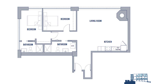 Floor plan: 1100sq ft (2bd/2bth)  Source