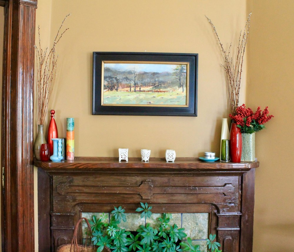 Kathie Odom painting above mantel